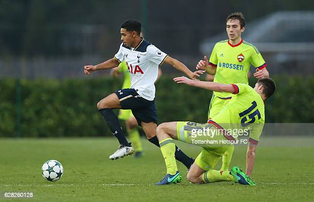 Dylan Duncan of Tottenham Hotspur evades Aleksandr Stanisavlevich of CSKA Moscow during the UEFA Youth Champions League match between Tottenham...