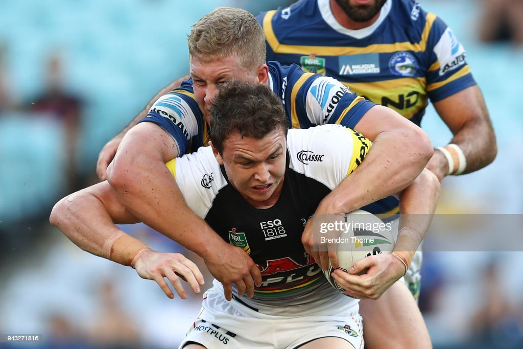 Dylan Edwards of the Panthers is tackled by the Eels defence during the round five NRL match between the Parramatta Eels and the Penrith Panthers at ANZ Stadium on April 8, 2018 in Sydney, Australia.