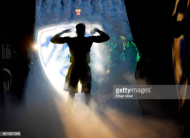 Dylan Ennis of the Oregon Ducks is introduced before a semifinal game of the Pac12 Basketball Tournament against the California Golden Bears at...