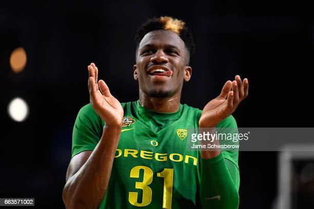 Dylan Ennis of the Oregon Ducks reacts after a play during the 2017 NCAA Men's Final Four Semifinal against the North Carolina Tar Heels at...