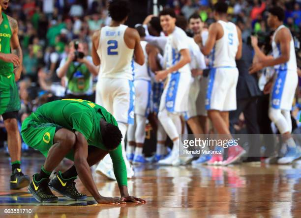 Dylan Ennis of the Oregon Ducks reacts after being defeated by the North Carolina Tar Heels during the 2017 NCAA Men's Final Four Semifinal at...