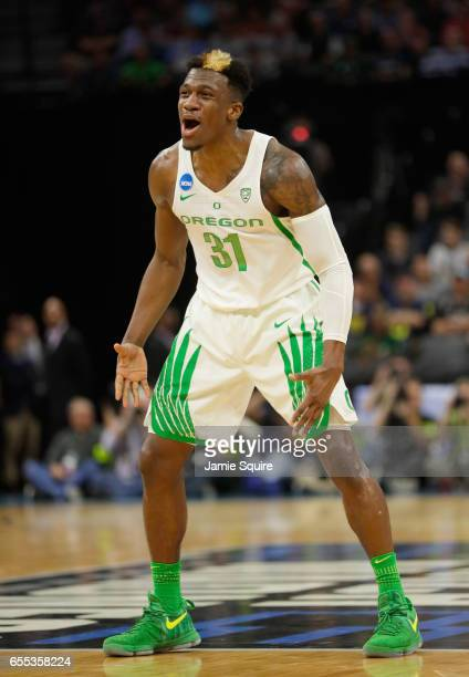 Dylan Ennis of the Oregon Ducks reacts against the Rhode Island Rams during the second round of the 2017 NCAA Men's Basketball Tournament at Golden 1...