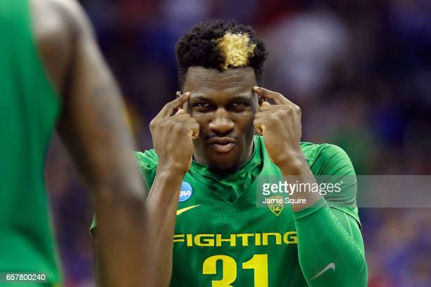 Dylan Ennis of the Oregon Ducks reacts in the first half against the Kansas Jayhawks during the 2017 NCAA Men's Basketball Tournament Midwest...