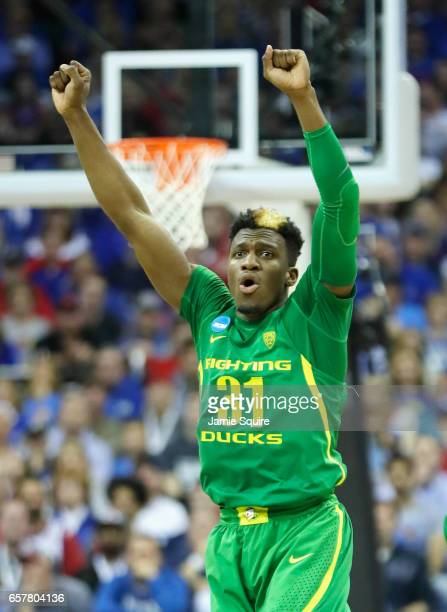 Dylan Ennis of the Oregon Ducks reacts in the second half against the Kansas Jayhawks during the 2017 NCAA Men's Basketball Tournament Midwest...