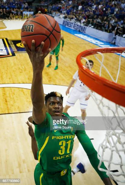 Dylan Ennis of the Oregon Ducks shoots the ball in the first half against the Kansas Jayhawks during the 2017 NCAA Men's Basketball Tournament...