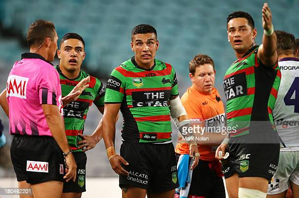 Dylan Farrell of the Rabbitohs watches a replay of a mid air incident in which Sisa Waqa of the Storm was taken from the field during the NRL...