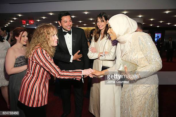 Dylan Farrow Mia Farrow Ayman Mohyeldin and Ibtihaj Muhammad attend 2016 Time 100 Gala Time's Most Influential People In The World Cocktails at Jazz...