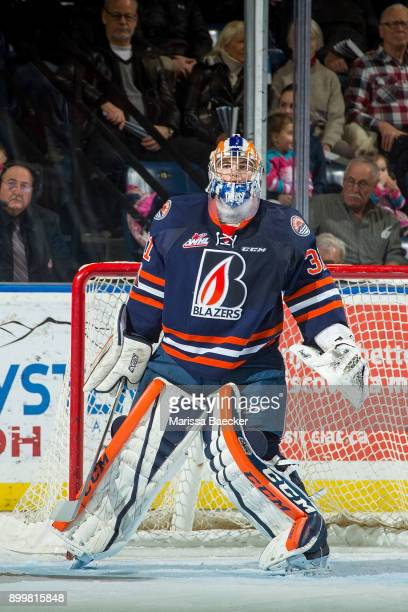 Dylan Ferguson of the Kamloops Blazers defends the net against the Kelowna Rockets on December 27 2017 at Prospera Place in Kelowna British Columbia...