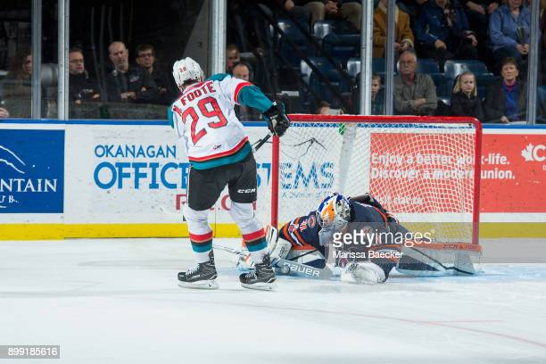 Dylan Ferguson of the Kamloops Blazers makes a save on a shoot out shot by Nolan Foote of the Kelowna Rockets on December 27 2017 at Prospera Place...