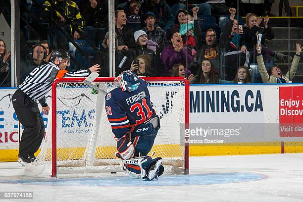Dylan Ferguson of the Kamloops Blazers reacts to a missed save against the Kelowna Rockets called by referee Chris Crich on January 7 2017 at...