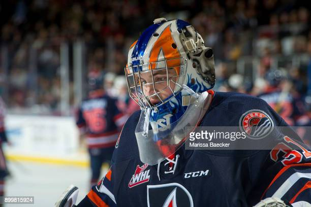 Dylan Ferguson of the Kamloops Blazers skates to the net against the Kelowna Rockets on December 27 2017 at Prospera Place in Kelowna British...