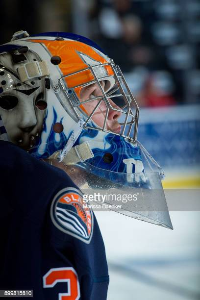 Dylan Ferguson of the Kamloops Blazers stands at the bench during warm up against the Kelowna Rockets on December 27 2017 at Prospera Place in...
