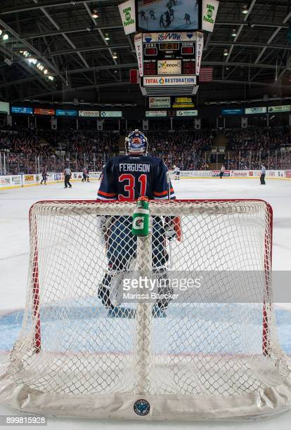Dylan Ferguson of the Kamloops Blazers stands in net against the Kelowna Rockets on December 27 2017 at Prospera Place in Kelowna British Columbia...