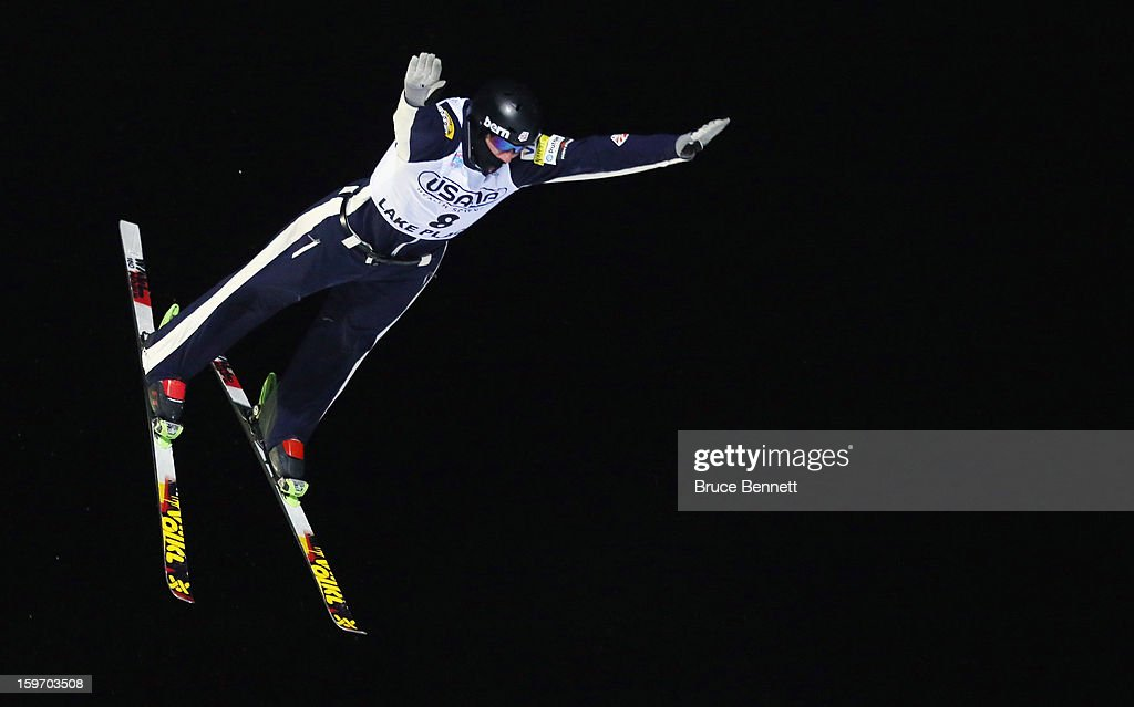 Dylan Ferguson #8 of the USA competes in the USANA Freestyle World Cup aerial competition at the Lake Placid Olympic Jumping Complex on January 18, 2013 in Lake Placid, New York.