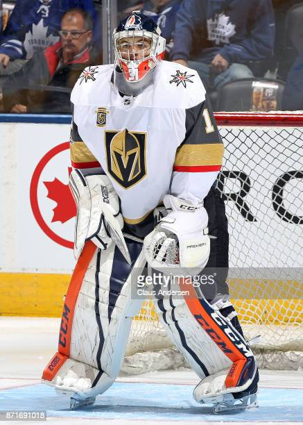 Dylan Ferguson of the Vegas Golden Knights faces shots in the warmup prior to action against the Toronto Maple Leafs in an NHL game at the Air Canada...