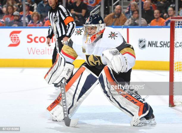 Dylan Ferguson of the Vegas Golden Knights prepares to make a save in his first NHL game against the Edmonton Oilers on November 14 2017 at Rogers...