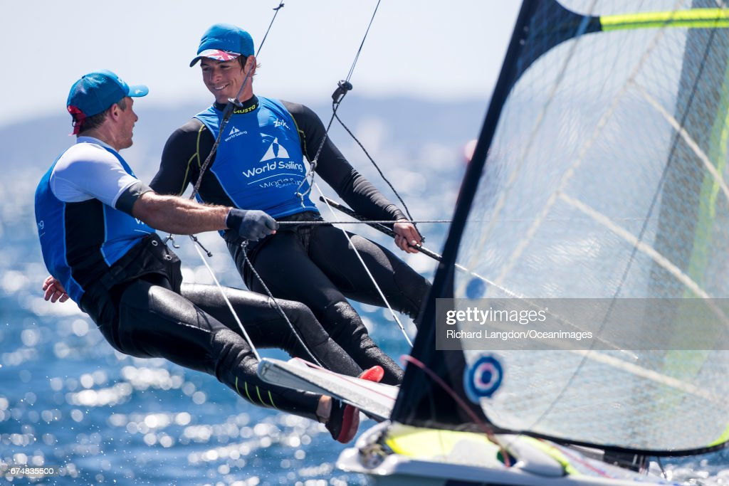 Dylan Fletcher and Stuart Bithell from the British Sailing Team sail their 49er to 2nd overall during the ISAF Sailing World Cup Hyeres on APRIL 29, 2017 in Hyeres, France.