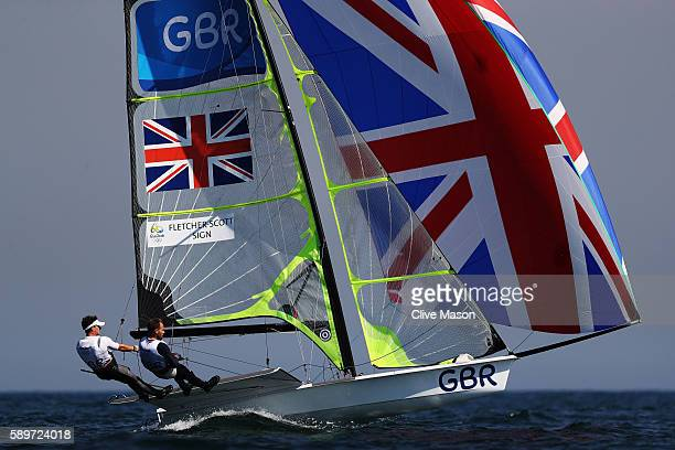Dylan FletcherScott of Great Britain and Alain Sign of Great Britain compete in the Men's 49ers class on Day 10 of the Rio 2016 Olympic Games at the...