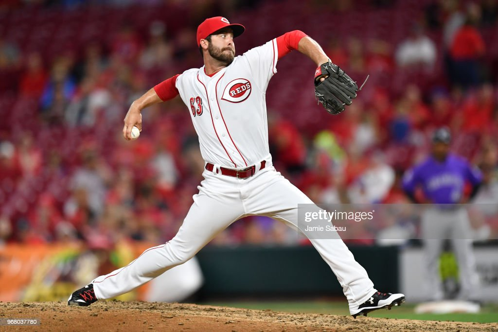 Dylan Floro #63 of the Cincinnati Reds pitches in the eighth inning against the Colorado Rockies at Great American Ball Park on June 5, 2018 in Cincinnati, Ohio. Colorado defeated Cincinnati 9-6.