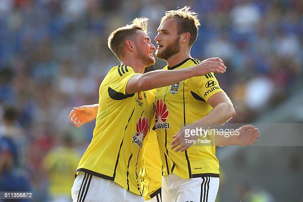Dylan Fox and Hamish Watson of the Phoenix celebrate a goal during the round 20 A-League match between the Newcastle Jets and Wellington Phoenix at...