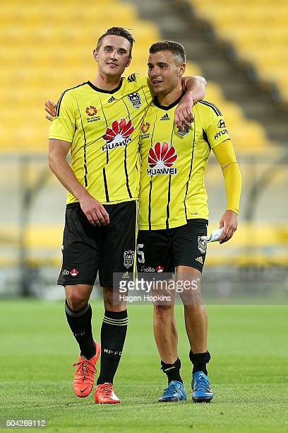 Dylan Fox and Troy Danaskos of the Phoenix embrace after the final whistle during the round 14 ALeague match between the Wellington Phoenix and the...