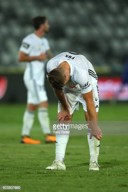 Dylan Fox of the Phoenix looks dejected after losing to the Mariners during the round 21 ALeague match between the Central Coast Mariners and the...