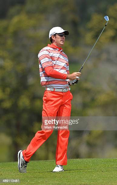 Dylan Frittelli of Republic of South Africa watches on after playing his approach shot to the 3rd green during the Madeira Islands Open - Portugal -...
