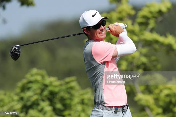 Dylan Frittelli of South Africa plays a shot during the third round of the 2017 Volvo China open at Topwin Golf and Country Club on April 29 2017 in...
