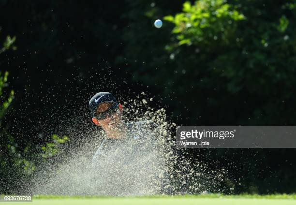 Dylan Frittelli of South Africa plays from a bunker on the 14th hole during day one of the Lyoness Open at Diamond Country Club on June 8 2017 in...