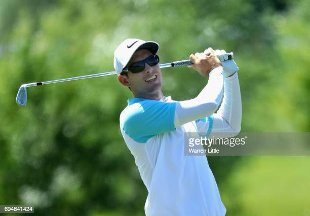 Dylan Frittelli of South Africa plays his second shot into the 10th green during the final round of the Lyoness Open at Diamond Country Club on June...