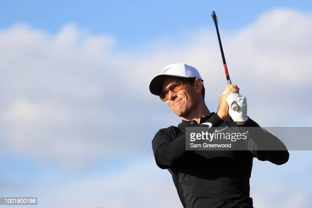 Dylan Frittelli of South Africa plays his shot from the 17th tee during the first round of the 147th Open Championship at Carnoustie Golf Club on...
