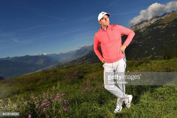 Dylan Frittelli of South Africa poses for a picture during practice prior to the start of the Omega European Masters at CranssurSierre Golf Club on...