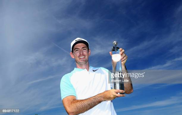Dylan Frittelli of South Africa poses with the trophy after winning the Lyoness Open at Diamond Country Club on June 11 2017 in Atzenbrugg Austria