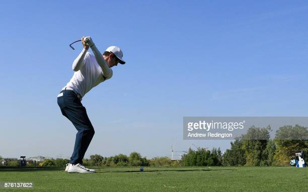 Dylan Frittelli of South Africa tees off on the 4th hole during the final round of the DP World Tour Championship at Jumeirah Golf Estates on...