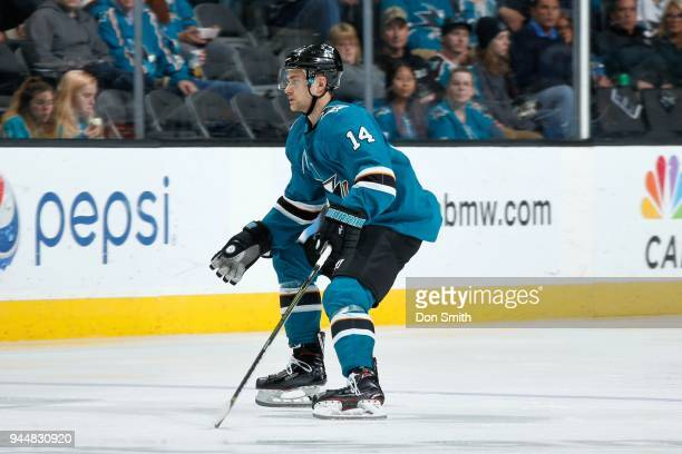 Dylan Gambrell of the San Jose Sharks looks on during a NHL game against the Minnesota Wild at SAP Center on April 7 2018 in San Jose California...