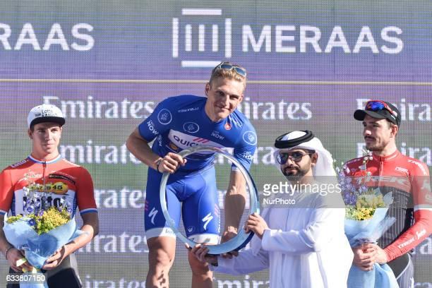 Dylan Groenewegen Marcel Kittel Sheik Mansoor bin Mohammed Al Maktoum and John Degenkolb the three best riders of the fourth edition of Dubai Tour...