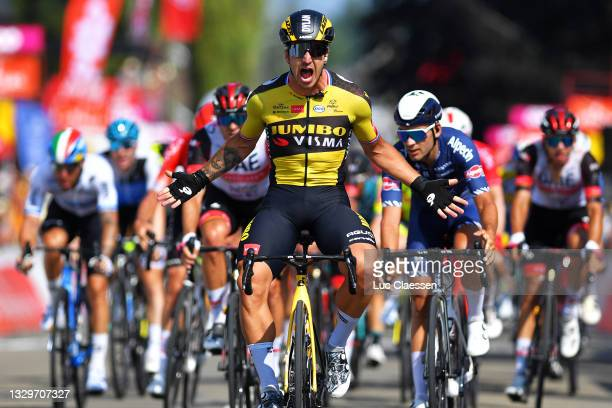 Dylan Groenewegen of Netherlands and Team Jumbo - Visma celebrates at arrival during the 42nd Tour de Wallonie 2021, Stage 1 a 185,7km stage from...