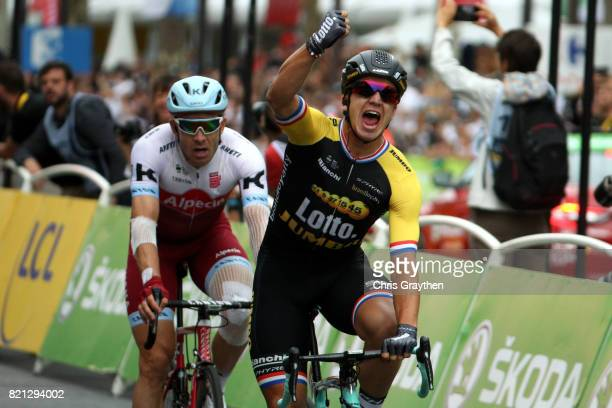Dylan Groenewegen of Netherlands riding for Team Lotto NL-Jumbo celebrates after winning stage 21 of the 2017 Le Tour de France, a 103km stage from...
