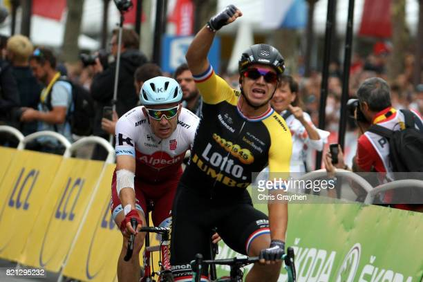 Dylan Groenewegen of Netherlands riding for Team Lotto NLJumbo celebrates after winning stage 21 of the 2017 Le Tour de France a 103km stage from...