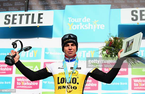 Dylan Groenewegen of Team Lotto NL-Jumbo and the Netherlands celebrates after winning the first stage of the 2016 Tour de Yorkshire from Beverley to...