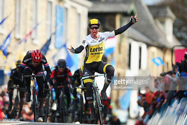 Dylan Groenewegen of Team Lotto NL-Jumbo and the Netherlands wins the first stage of the 2016 Tour de Yorkshire from Beverley to Settle on April 29,...