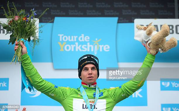 Dylan Groenewegen of Team Lotto NL-Jumbo and the Netherlands wins the points jersey after the third stage of the 2016 Tour de Yorkshire between...