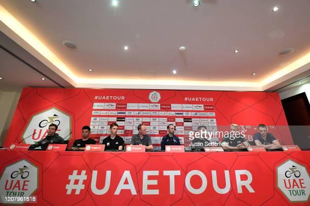 Dylan Groenewegen of The Netherlands and Team Jumbo Visma / Caleb Ewan of Australia and Team Lotto Soudal / Tadej Pogacar of Slovenia and UAE Team...