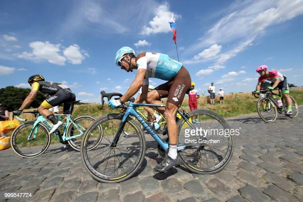 Dylan Groenewegen of The Netherlands and Team LottoNL Jumbo / Alexis Vuillermoz of France and Team AG2R La Mondiale / Willems À Hem Cobbles Sector 1...
