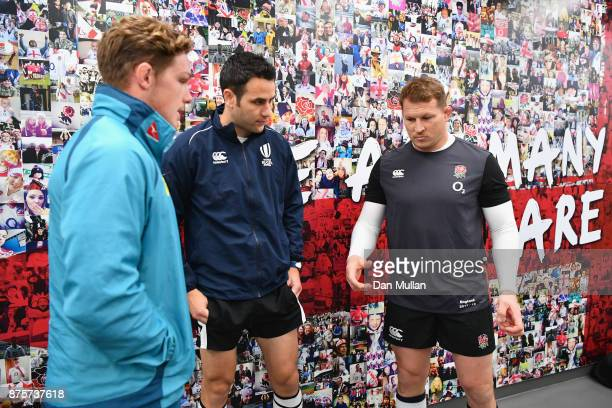 Dylan Harper of England and Michael Hooper of Australia during the coin toss prior to the Old Mutual Wealth Series match between England and...
