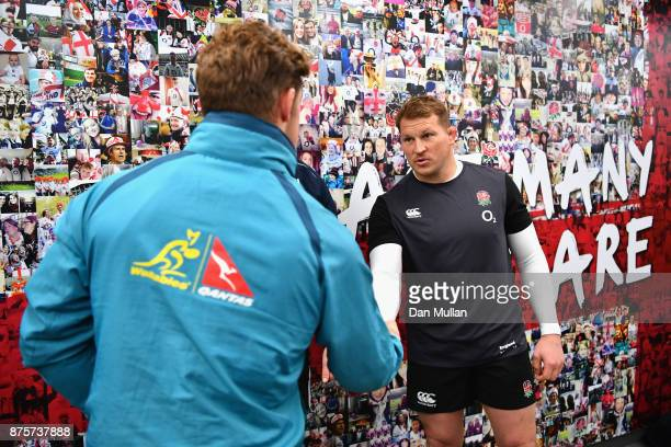 Dylan Harper of England and Michael Hooper of Australia shake hands after the coin toss prior to the Old Mutual Wealth Series match between England...