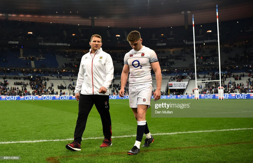 Dylan Hartley and Owen Farrell of England look dejected after the NatWest Six Nations match between France and England at Stade de France on March 10, 2018 in Paris, France.