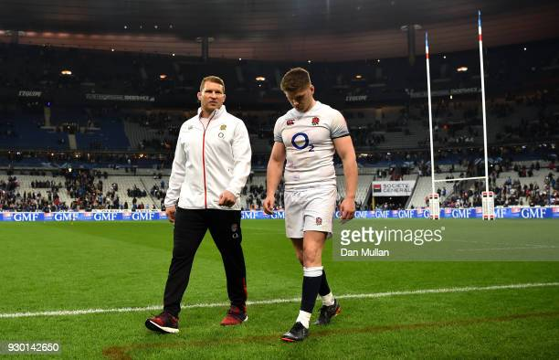 Dylan Hartley and Owen Farrell of England look dejected after the NatWest Six Nations match between France and England at Stade de France on March 10...
