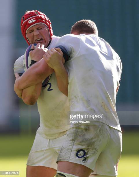 Dylan Hartley and Sam Underhill of England during an England Rugby training session at Twickenham Stadium on February 16 2018 in London England