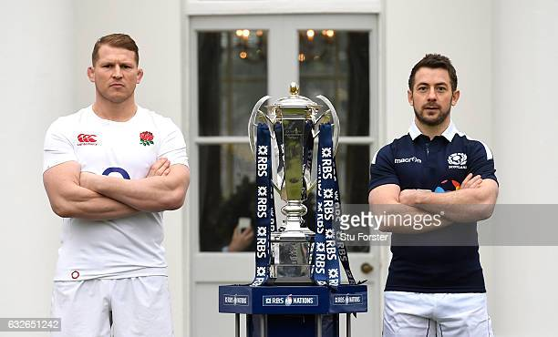 Dylan Hartley Captain of England and Greig Laidlaw Captain of Scotland pose with The Six Nations Trophy during the 2017 RBS Six Nations launch at The...